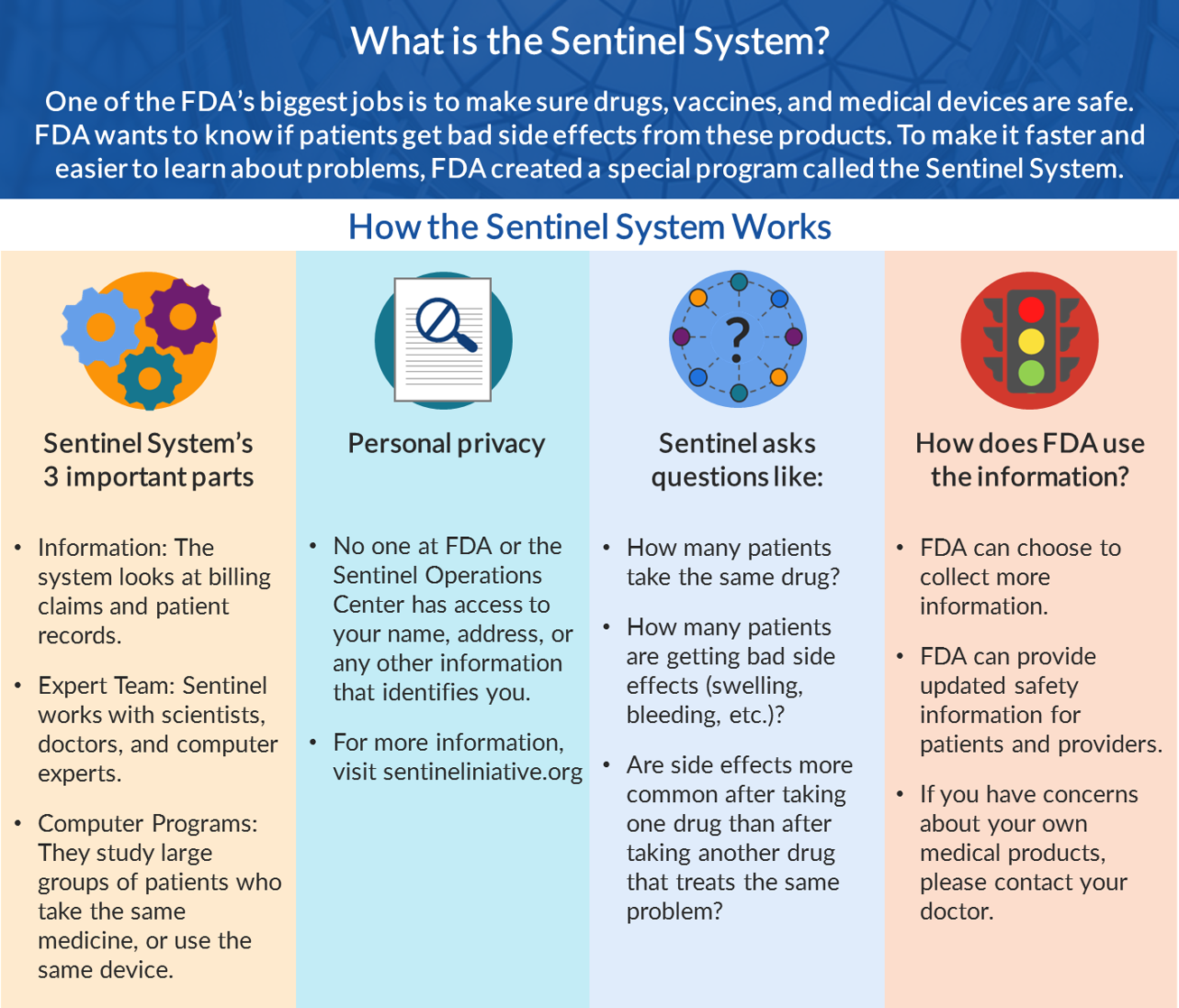 (1) Sentinel's System's 3 Important Parts, (2) Personal Privacy, (3) Sentinel asks questions like, (4) How does FDA use the information.