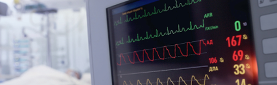 Patient vitals monitor with blurred background